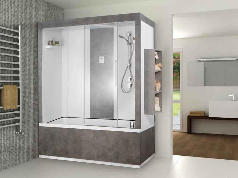 Bagno Moderno Con Vasca E Doccia: Moderno con lavatrice sostituire la vasca da bagno un box doccia.